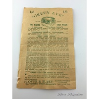 VINTAGE Pharmacy Advertising - Green Eye The Master Corn Killer - Plover & Burke Melbourne