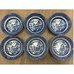 Churchill Blue Willow Cereal Bowls x 6 - 15.5 cm