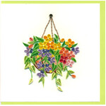 Floral Hanging Basket Greeting Card - Handmade Quilling - Blank