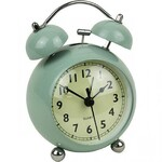 VINTAGE Style Green Metal Alarm Clock - Bell Alarm Domed Glass - Silent Tick