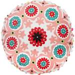 Embroidered Round Cushion - Bright & Cheerful - Pink Red - 43 cm Diameter