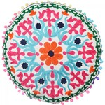 Embroidered Round Cushion - Bright & Cheerful - Orange Green - 43 cm Diameter