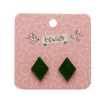 Diamond Stud Earrings - Erstwilder - Textured Resin - Green