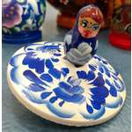 Matryoshka Spinning Top - Russian Wooden Toy - Blue White