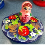 Matryoshka Spinning Top - Russian Wooden Toy - Strawberries