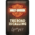 Tin Sign - Harley Davidson Road is Calling - Nostalgic Art