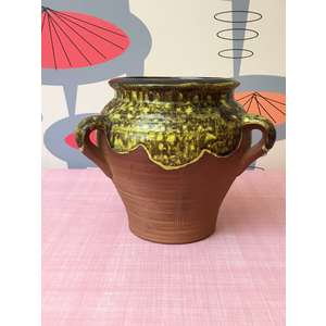 RETRO Art Pottery Vase - Japan Drip Glaze & Terracotta