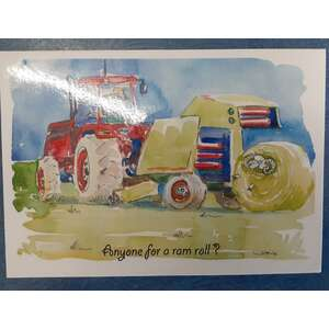 Greeting's Card - Australian Outback - Sheep Farm Tractor Bailing