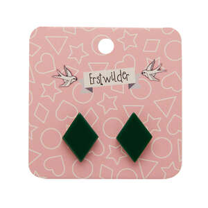 Diamond Stud Earrings - Erstwilder - Solid Resin - Green