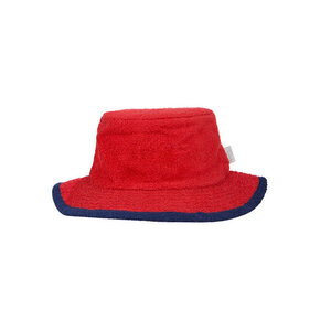 Terry Towelling Bucket Hat - L - Red Navy Trim