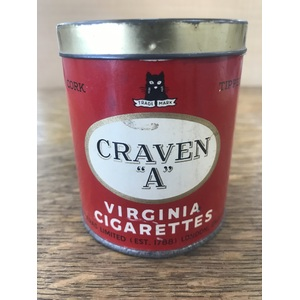 VINTAGE Craven A Virginia Cigarettes Round Red Tin